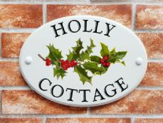 Holly & berries house sign